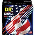 DR Strings USA Flag Sets: Hi-Def NEON Red, White & Blue Acoustic Guitar Medium-Lite Strings