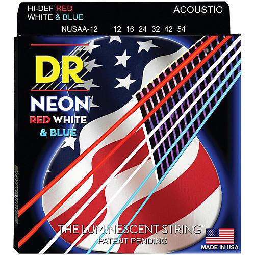 DR Strings USA Flag Sets: Hi-Def NEON Red, White & Blue Acoustic Guitar Medium Strings (12-54)