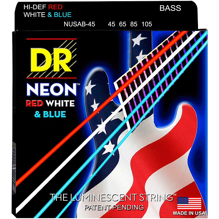 DR Strings USA Flag Sets: Hi-Def NEON Red, White & Blue Electric Bass 4 String Bass Strings (45-105)