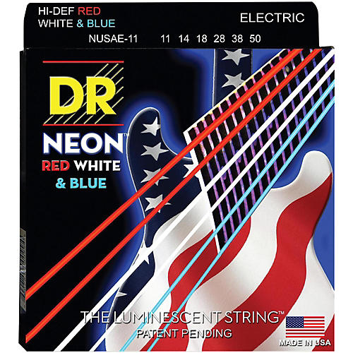 DR Strings USA Flag Sets: Hi-Def NEON Red, White & Blue Electric Guitar Heavy Strings (11-50)