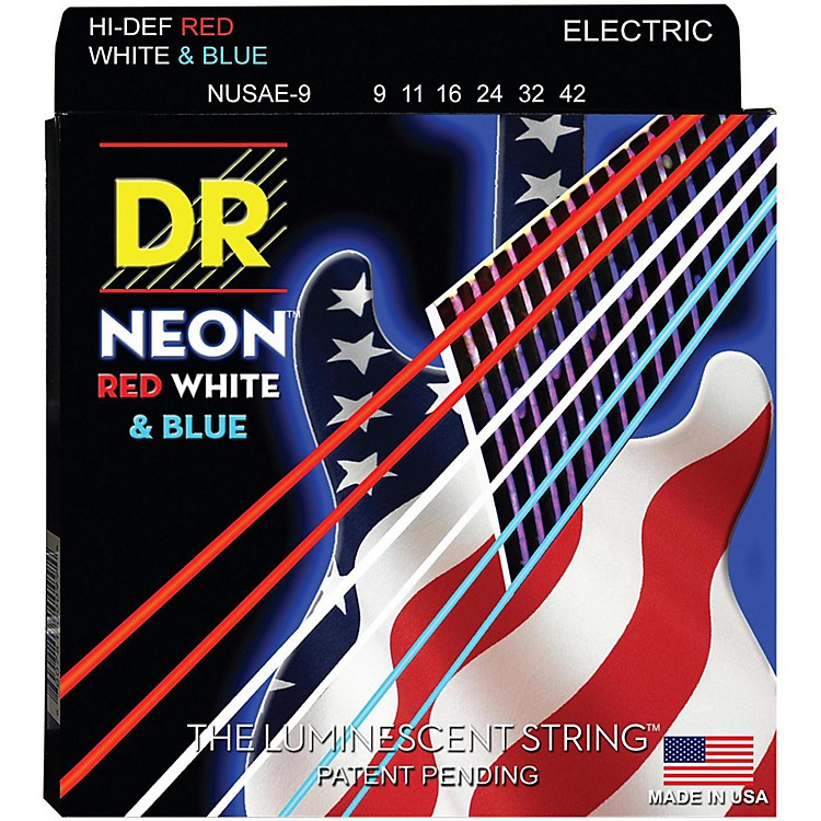 DR Strings USA Flag Sets: Hi-Def NEON Red, White & Blue Electric Guitar Lite Strings (9-42)