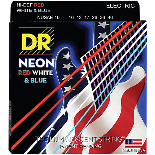 DR Strings USA Flag Sets: Hi-Def NEON Red, White & Blue Electric Guitar Medium Strings (10-46)