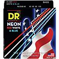 DR Strings USA Flag Sets: Hi-Def NEON Red, White & Blue Electric Lite 4 String Bass Strings