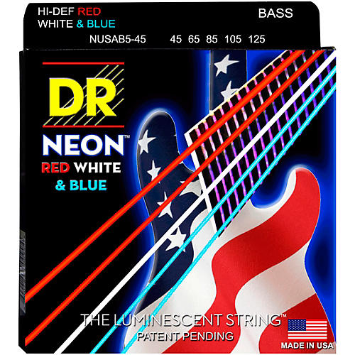 DR Strings USA Flag Sets: Hi-Def NEON Red, White & Blue Electric Medium 5 String Bass Strings (45-125)