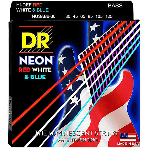 DR Strings USA Flag Sets: Hi-Def NEON Red, White & Blue Electric Medium 6 String Bass Strings (30-125)