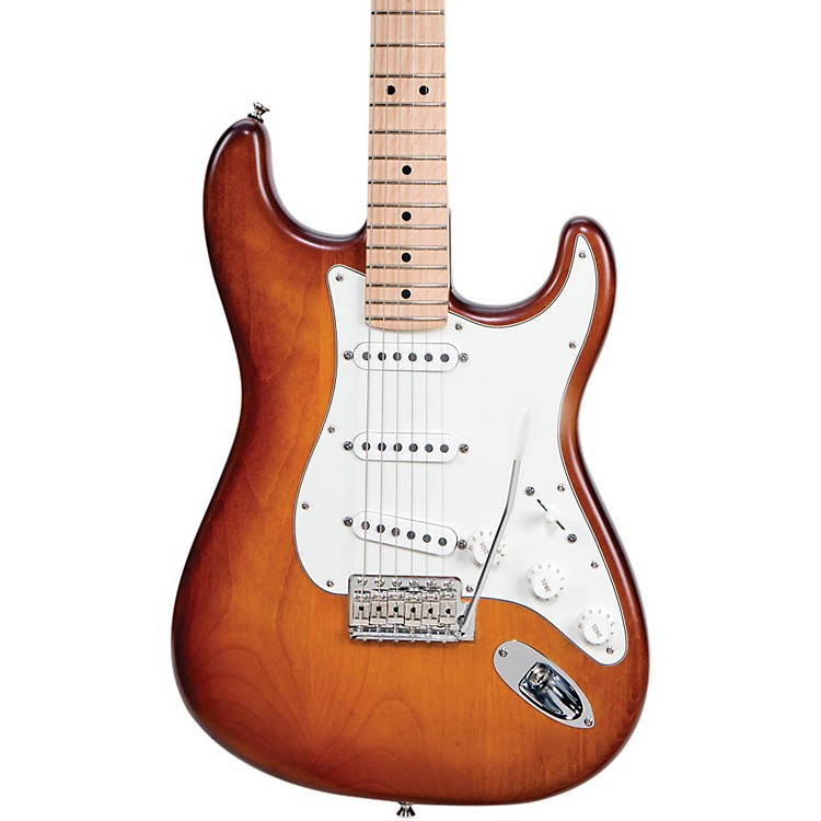 Fender USA Nitro Satin Series Stratocaster Electric Guitar Honeyburst Maple Fingerboard
