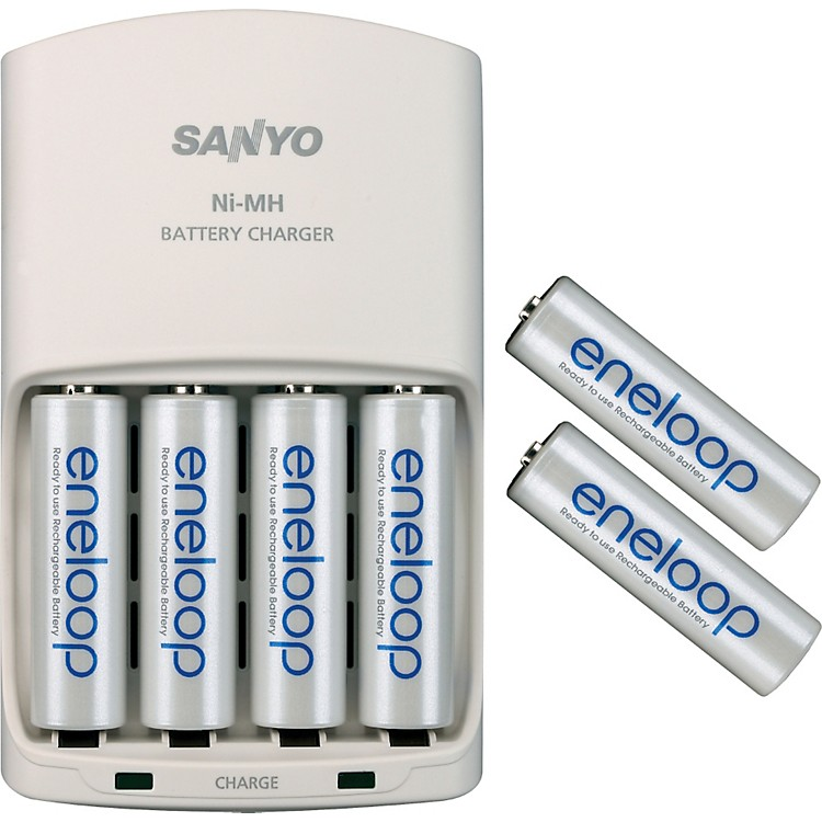 Sanyo Universal 4-position charger with 6 Eneloop 1500 AA batteries