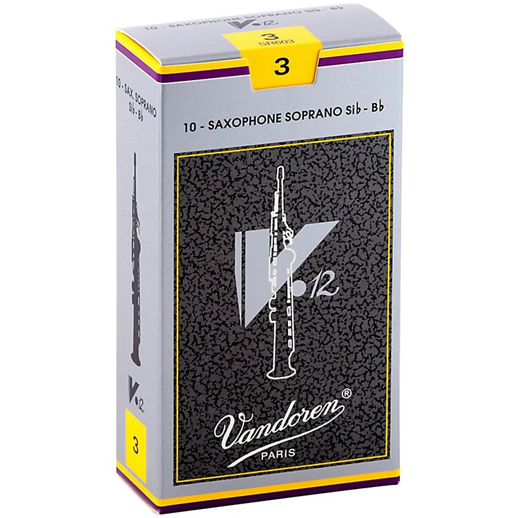 Vandoren V12 Series Soprano Saxophone Reeds Strength 3.5, Box of 10