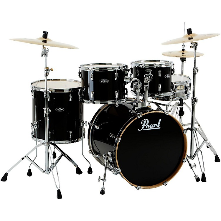 Pearl VBL Vision Birch 5 Piece Shell Pack Black Ice with Chrome Hardware