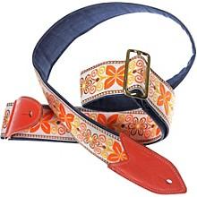 Jodi Head VERNA #32 Denim Slider Guitar Strap Orange Brown Floral 2 in.