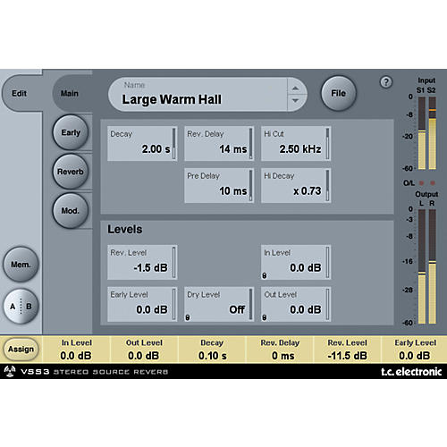 TC Electronic VSS3 TDM Stereo Source Reverb Plug-In