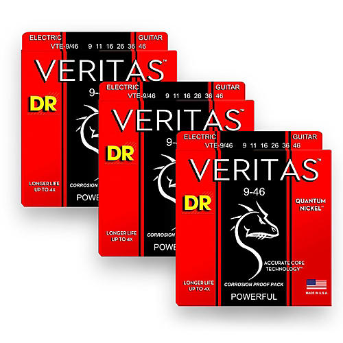 DR Strings Veritas - Accurate Core Technology Light and Heavy Electric Guitar Strings (9-46) 3-PACK-thumbnail