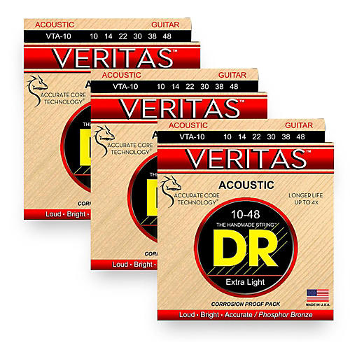 DR Strings Veritas - Perfect Pitch with Dragon Core Technology Custom Light Acoustic Strings (10-48) 3 Pack-thumbnail