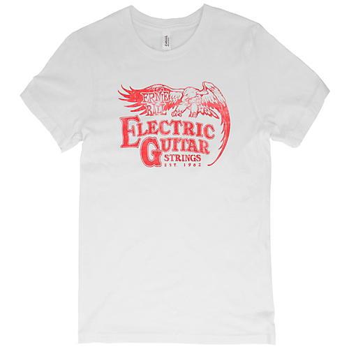 Ernie Ball Vintage Electric Guitar Strings Red Font T-Shirt Medium White