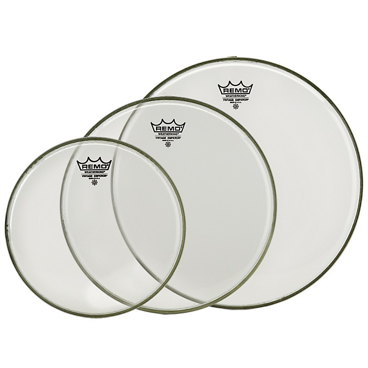 Remo Vintage Emperor Tom Drumhead Pack (Clear) 12, 13, & 16 Inch Clear
