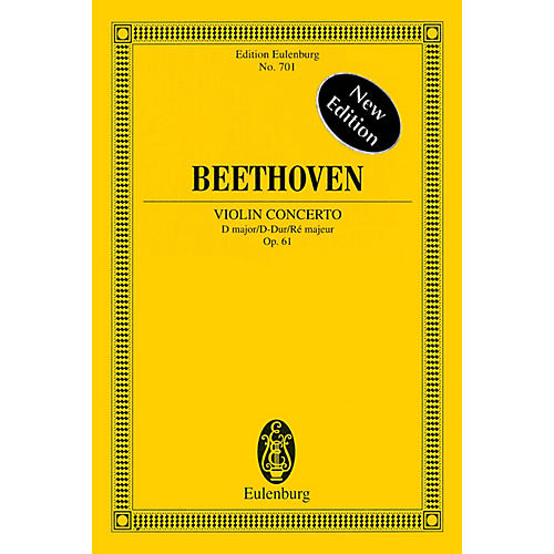 Eulenburg Violin Concerto in D Major, Op. 61 - New Edition Schott Series Softcover Composed by Ludwig van Beethoven-thumbnail