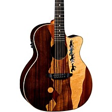 Open BoxLuna Guitars Vista Mustang Tropical Wood RSW Back Acoustic-Electric Guitar