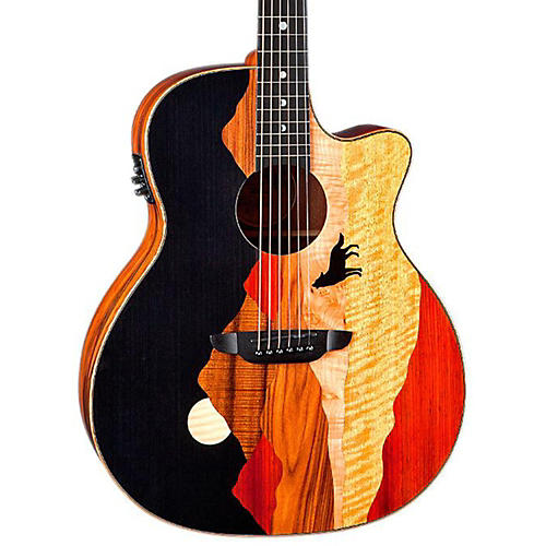 Luna Guitars Vista Wolf Cocobolo Back and Sides Acoustic Electric Guitar