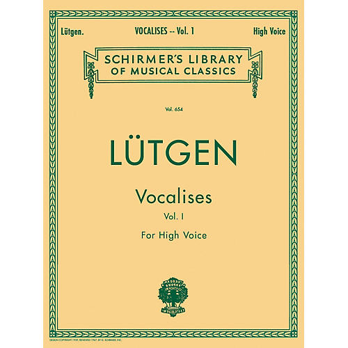 G. Schirmer Vocalises (20 Daily Exercises) - Book I for High Voice By Lütgen