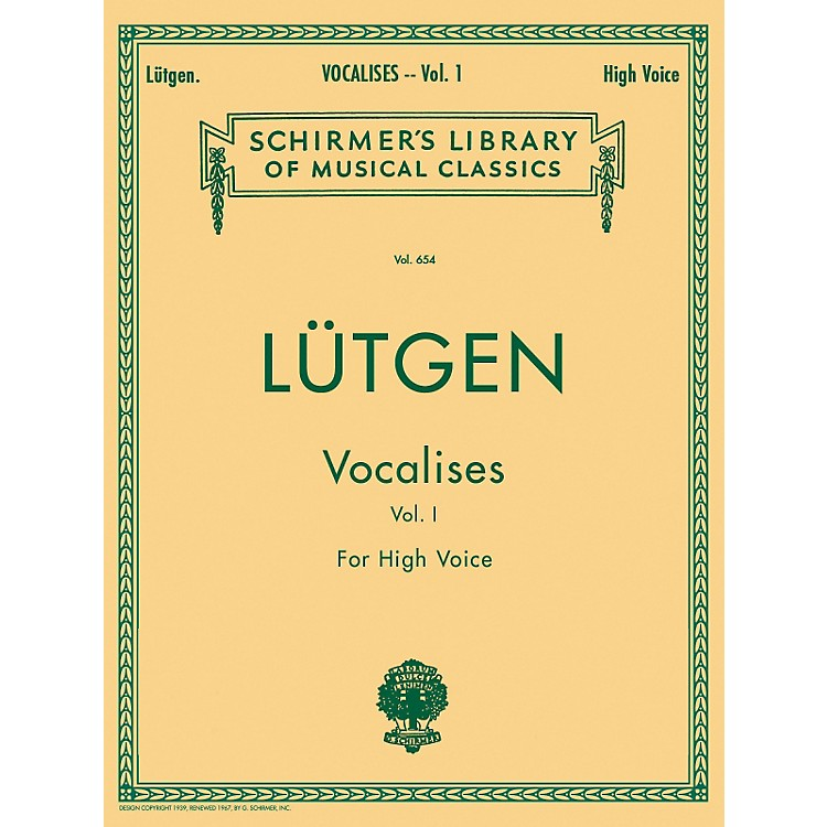 G. SchirmerVocalises (20 Daily Exercises) - Book I for High Voice By Lütgen