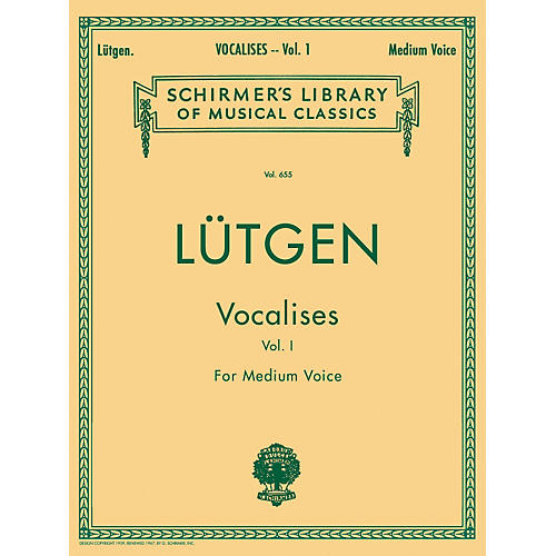G. Schirmer Vocalises (20 Daily Exercises) Vol. 1 for Medium Voice By L¼tgen
