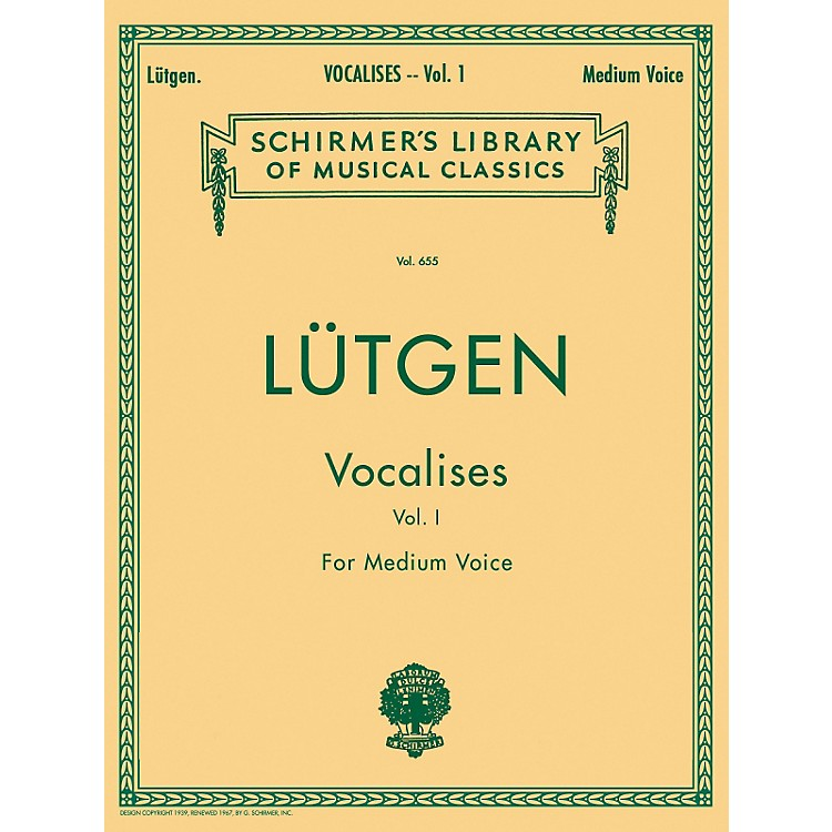 G. SchirmerVocalises (20 Daily Exercises) Vol. 1 for Medium Voice By Lütgen