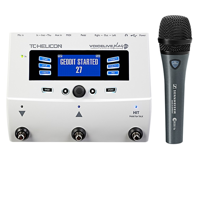 TC Helicon VoiceLive Play GTX Guitar/Vocal Harmony and Effects Pedal with Sennheiser e 835 fx Microphone
