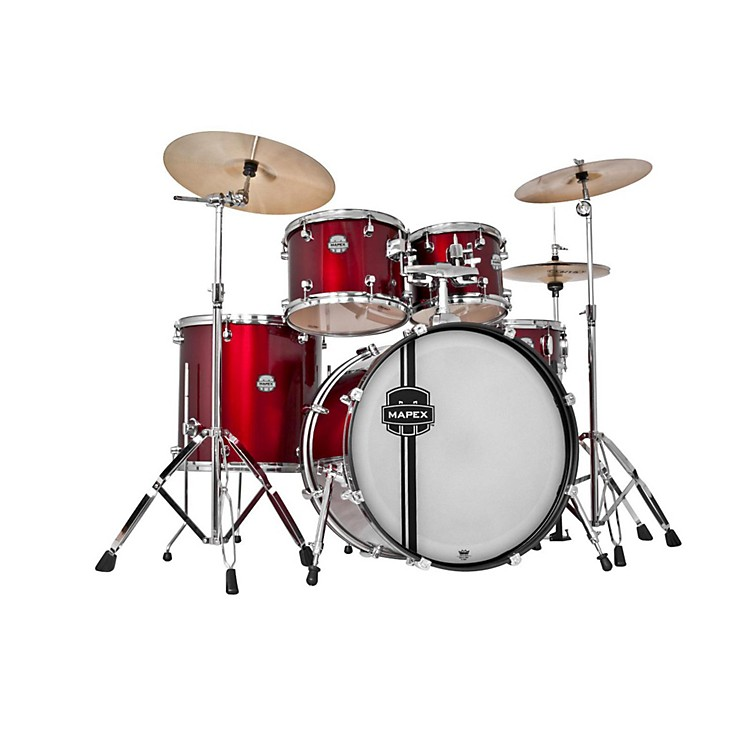 Mapex Voyager SRO Fully Loaded 5-Piece Drum Kit Dark Red w/Chrome Hardware