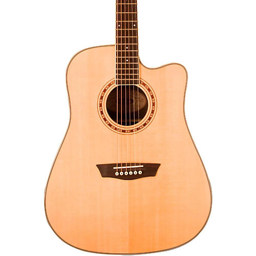 Washburn WD 20SCE Flamed Top Cutaway Dreadnought Acoustic-Electric Guitar Natural