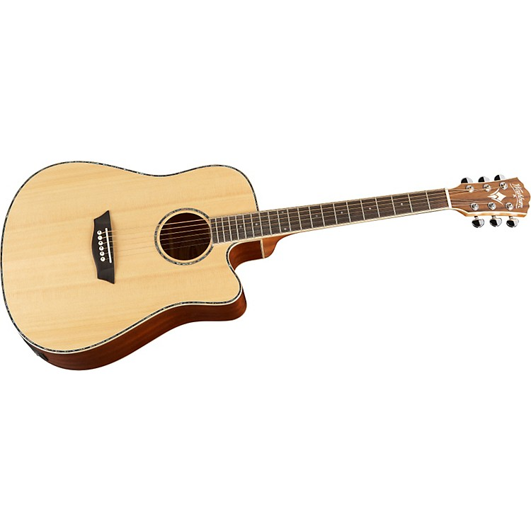 Washburn WD15SCE Solid Sitka Spruce Top Acoustic Cutaway Electric Dreadnought Mahogany Guitar with Fishman Preamp And Tuner