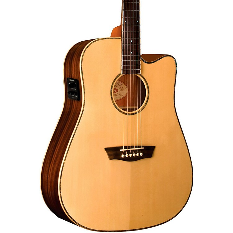 WashburnWD25SCE Solid Sitka Spruce Top Acoustic Cutaway Electric Dreadnought Rosewood Guitar with Fishman Preamp And TunerNatural