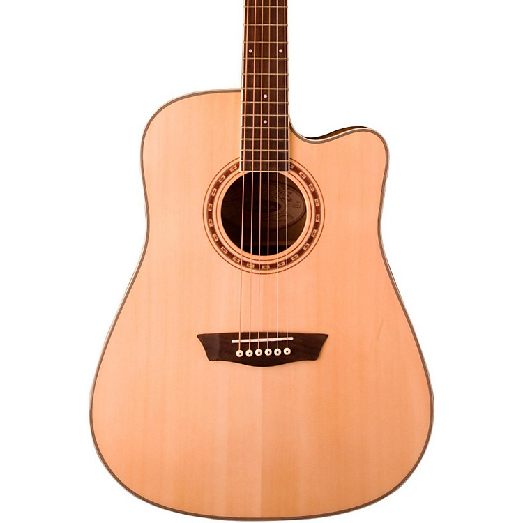 WashburnWD30SCE Solid Sitka Spruce Top Cutaway Acoustic-Electric Dreadnought GuitarNatural