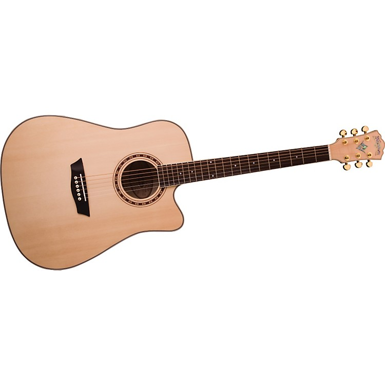 WashburnWD40SCE Solid Sitka Spruce Top Acoustic Cutaway Electric Dreadnought Flame Maple Guitar with Fishman Preamp And Tuner