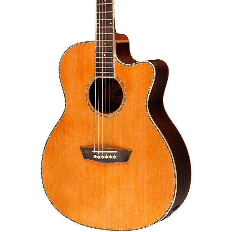 Washburn WG26SCE Solid Cedar Top Acoustic Cutaway Electric Grand Auditorium Rosewood Guitar with Fishman Preamp And Tuner Natural