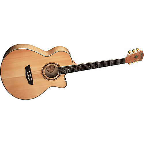 Washburn WMJ40S Solid Sitka Spruce Top Acoustic Mini Jumbo Flame Maple Guitar