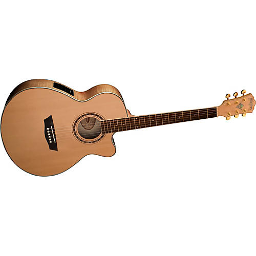 Washburn WMJ40SCE Solid Sitka Spruce Top Acoustic Cutaway Electric Mini Jumbo Flame Maple Guitar with Fishman Preamp And Tuner