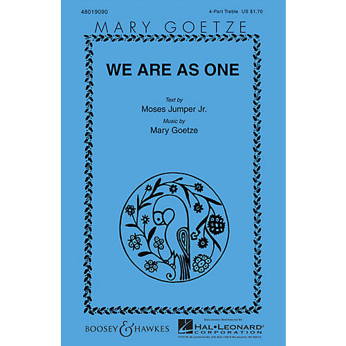 Boosey and Hawkes We Are as One 4 Part Treble composed by Mary Goetze-thumbnail