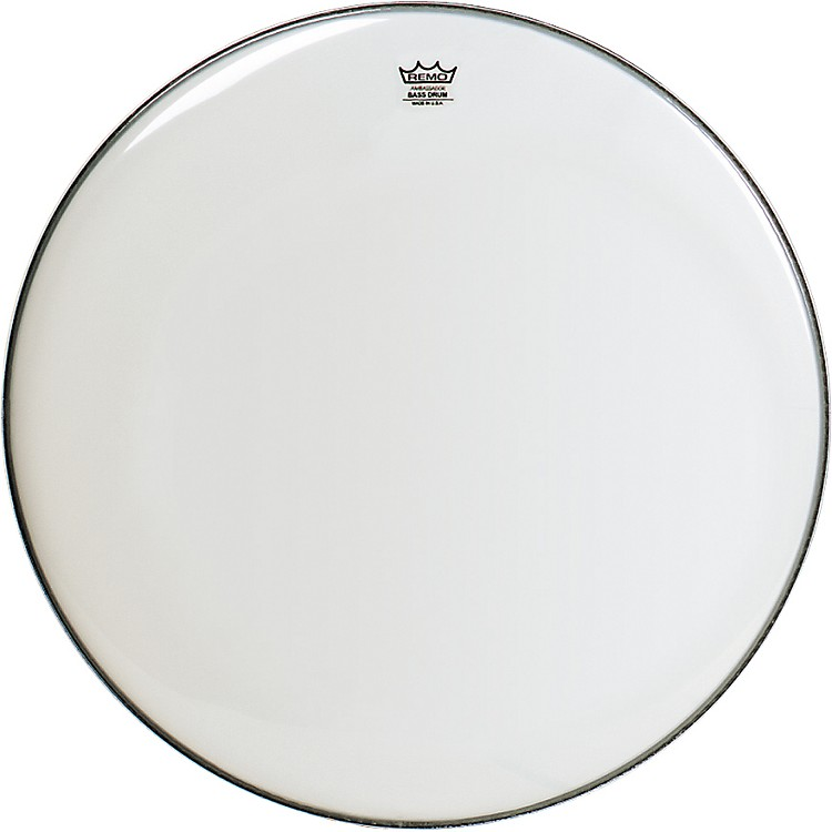 Remo WeatherKing Smooth White Ambassador Bass Drumhead  24 Inches