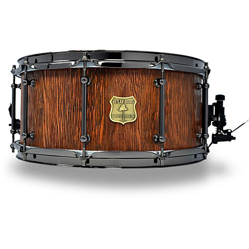 OUTLAW DRUMS Weathered Douglas Fir Stave Snare Drum with Black Chrome Hardware 14 x 6.5 in. Tobacco Glaze