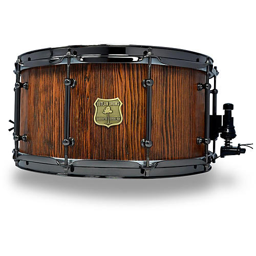 OUTLAW DRUMS Weathered Douglas Fir Stave Snare Drum with Black Chrome Hardware 14 x 7 in. Tobacco Glaze-thumbnail