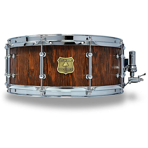 OUTLAW DRUMS Weathered Douglas Fir Stave Snare Drum with Chrome Hardware-thumbnail