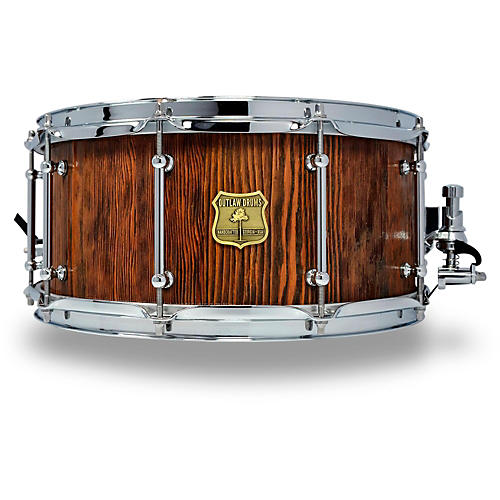 OUTLAW DRUMS Weathered Douglas Fir Stave Snare Drum with Chrome Hardware 14 x 6.5 in. Tobacco Glaze