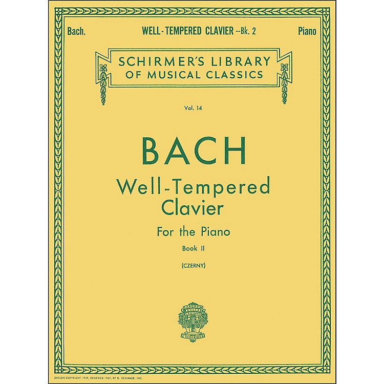 G. Schirmer Well Tempered Clavier Book 2 Piano Solo By Bach