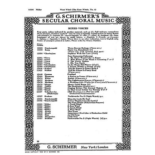 G. Schirmer West Wind 4 Winds No4 - A Cappella (Polynesian Prayers) SATB composed by D Miller-thumbnail