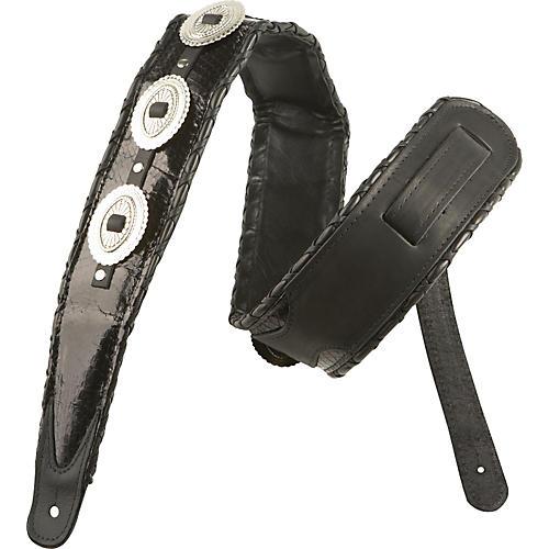 Jodi Head Western Snakeskin Concho Guitar Strap Black Snake