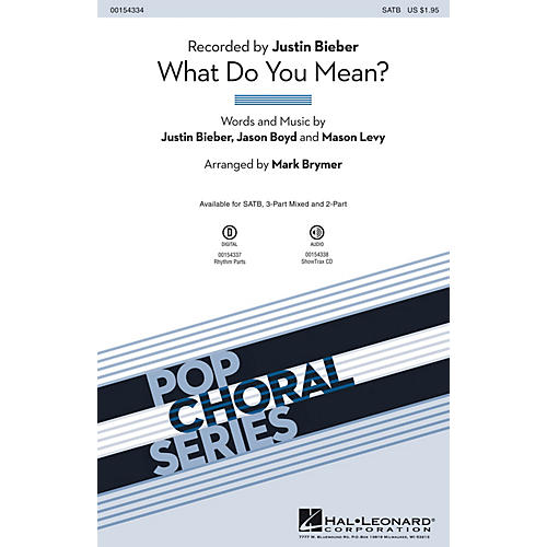 Hal Leonard What Do You Mean? SATB arranged by Mark Brymer
