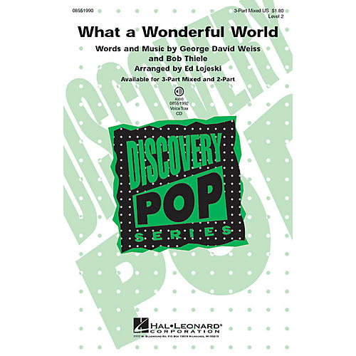 Hal Leonard What a Wonderful World (Discovery Level 2) 3-Part Mixed arranged by Ed Lojeski-thumbnail