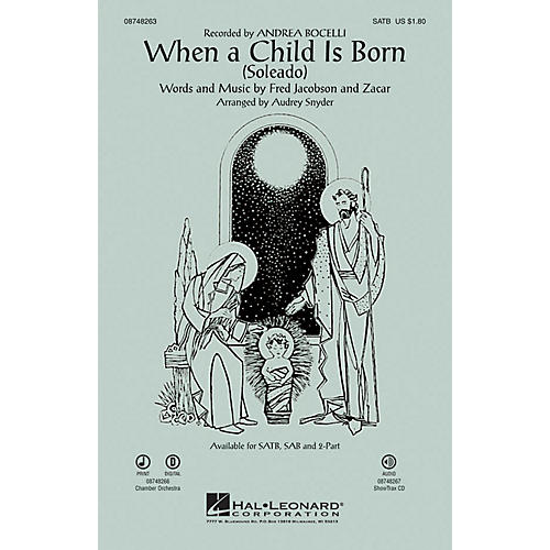 Hal Leonard When a Child Is Born (Soleado) SAB by Andrea Bocelli Arranged by Audrey Snyder-thumbnail