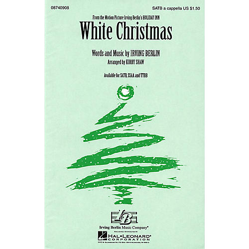 Hal Leonard White Christmas TTBB A Cappella Arranged by Kirby Shaw