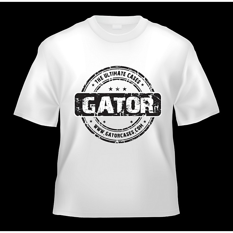 Gator White Gator Cases T-Shirt with Black Gator Cases Logo